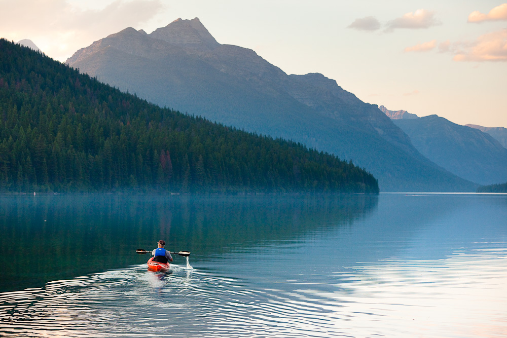 Bowman Lake Kayaker